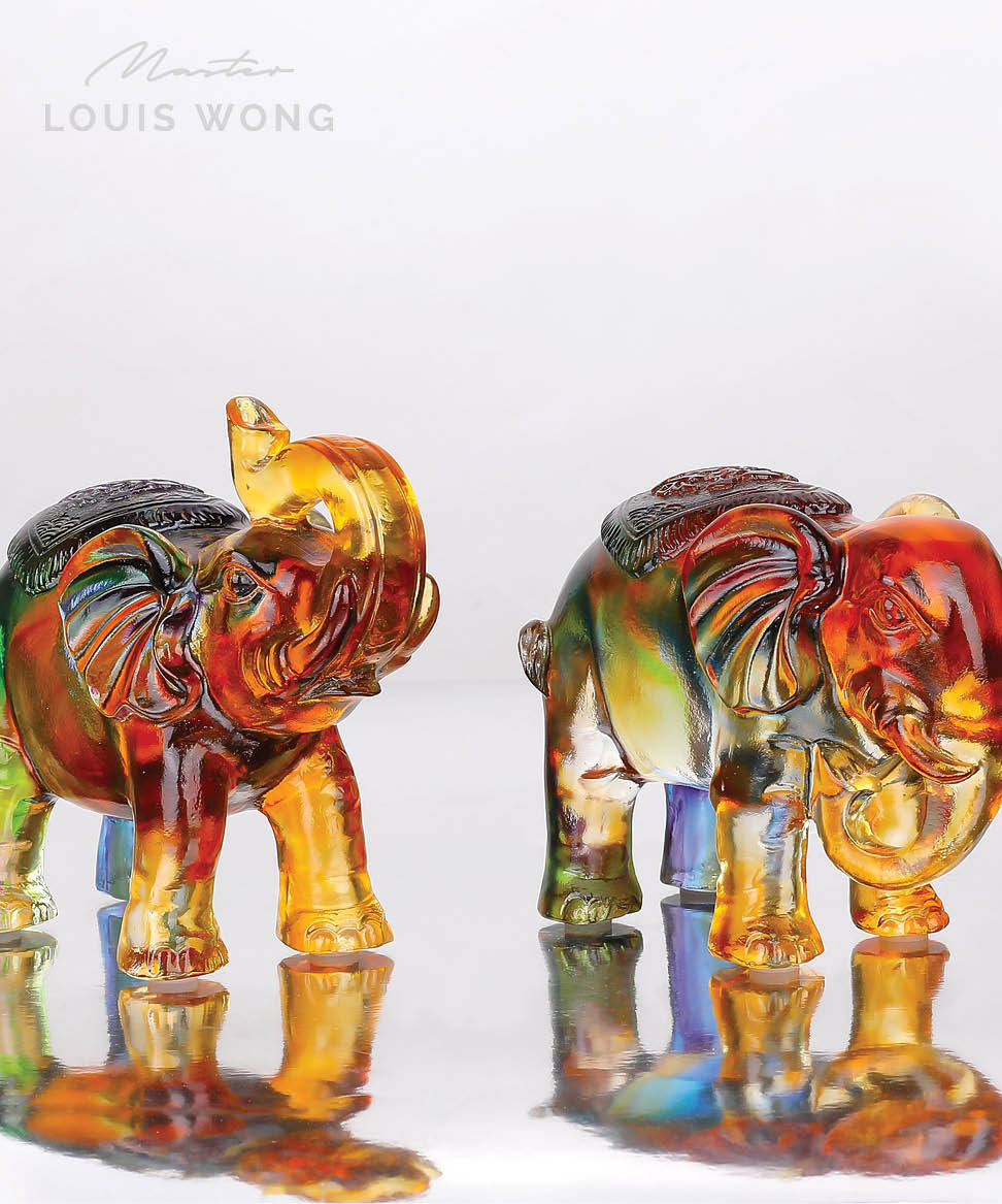 Wealth Elephant Liuli™ Feng Shui Art Piece Bundle